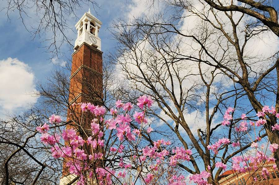 Purdue University Campus Bell Tower and Flowers in Spring